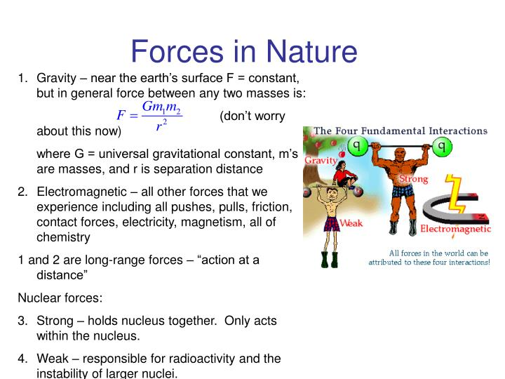 Gravity – near the earth's surface F = constant, but in general force between any two masses is: