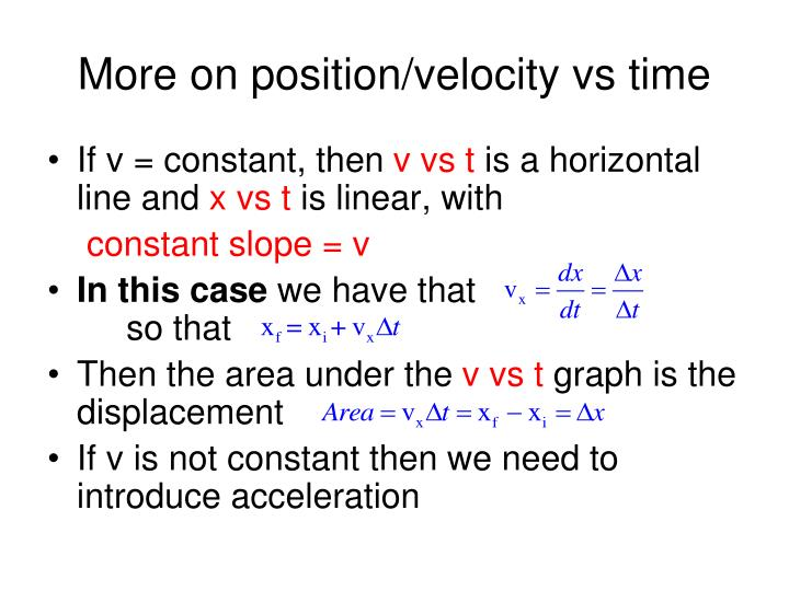 More on position/velocity vs time