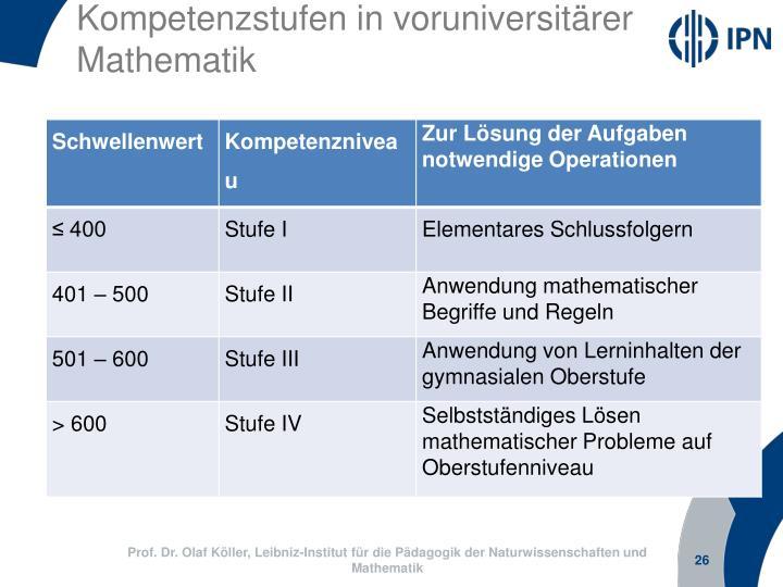 Kompetenzstufen in voruniversitärer Mathematik