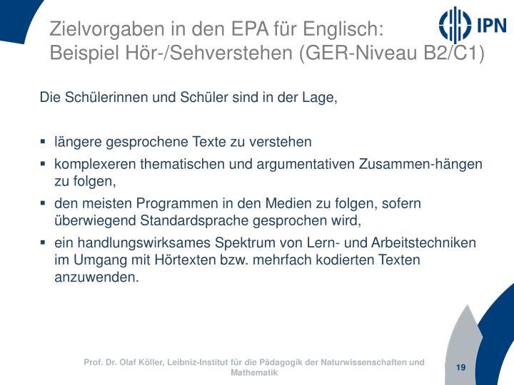 Zielvorgaben in den EPA für Englisch: