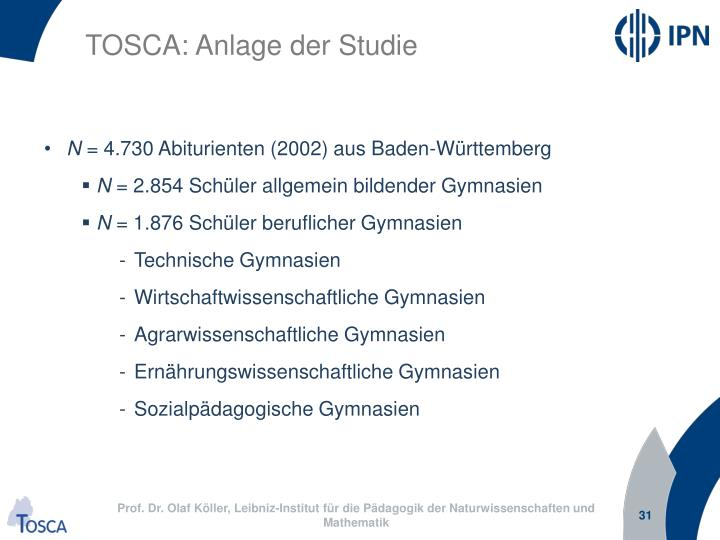 TOSCA: Anlage der Studie