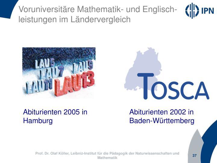 Voruniversitäre Mathematik- und Englisch-leistungen im