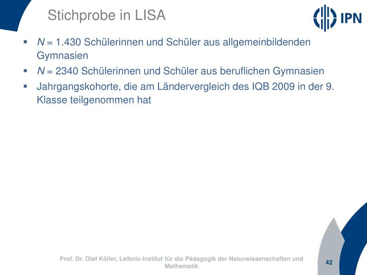 Stichprobe in LISA