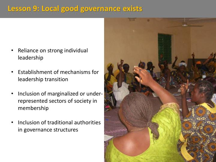 Lesson 9: Local good governance exists