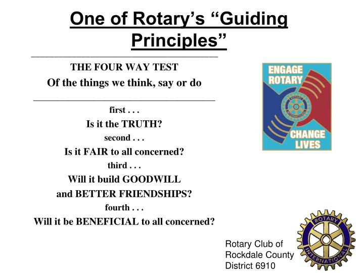 "One of Rotary's ""Guiding Principles"""