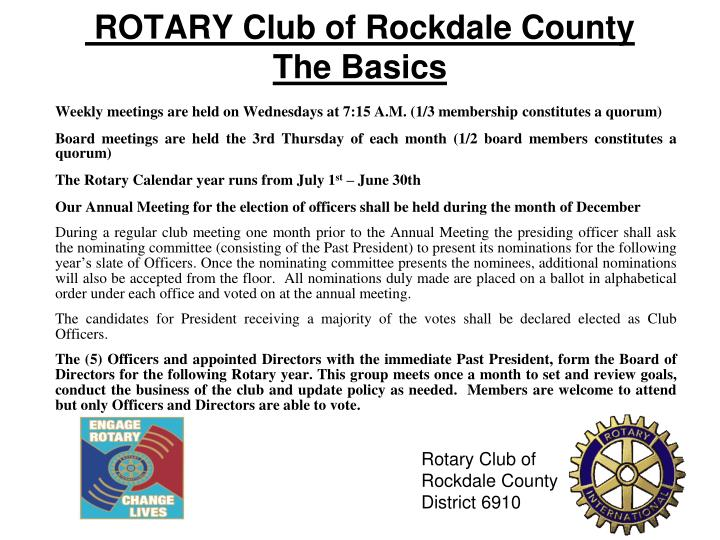 ROTARY Club of Rockdale County  The Basics
