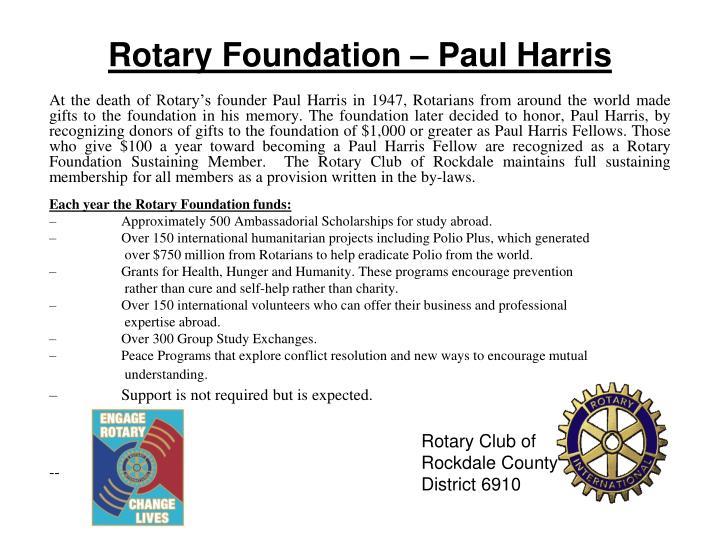 Rotary Foundation – Paul Harris