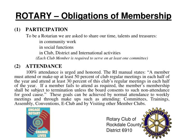 ROTARY – Obligations of Membership
