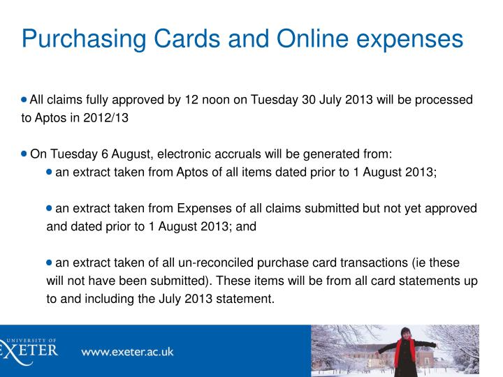 Purchasing Cards and Online expenses