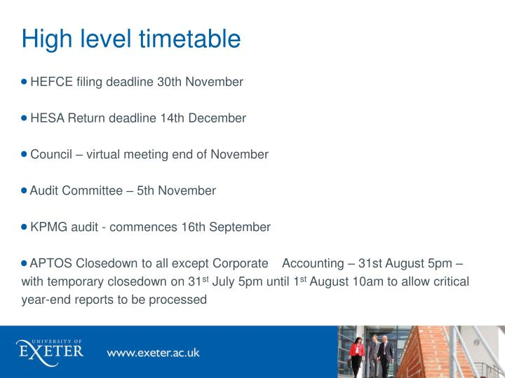 High level timetable