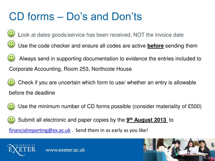 CD forms – Do's and Don'ts