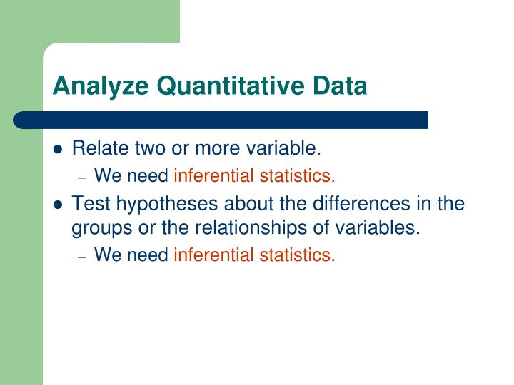 Analyze Quantitative Data