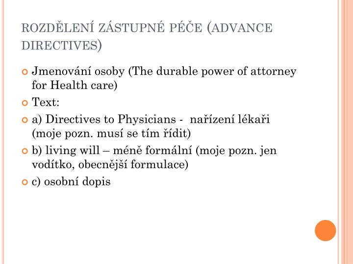 rozdělení zástupné péče (