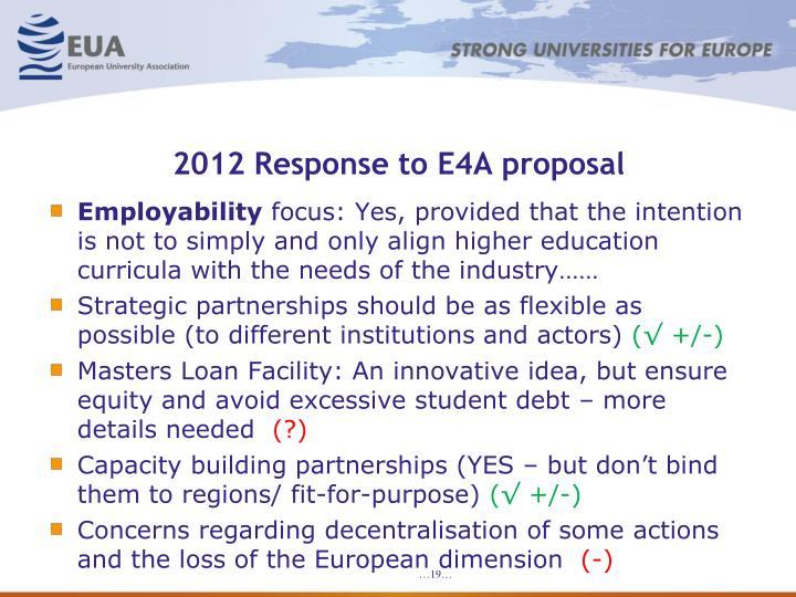2012 Response to E4A proposal
