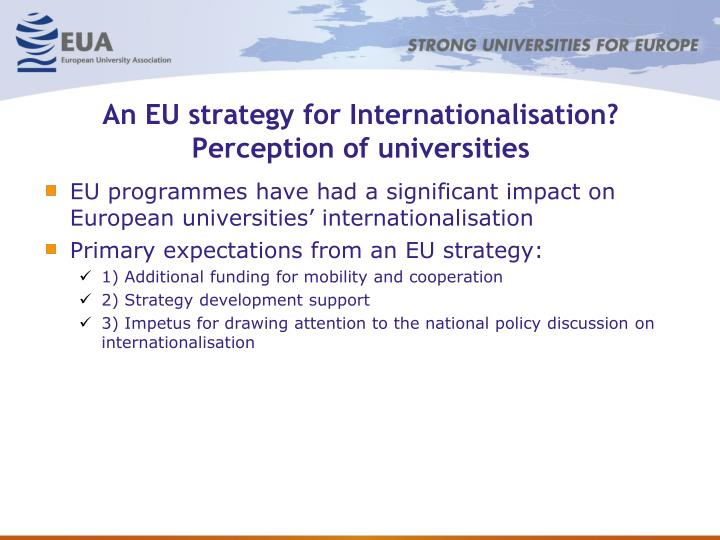 An EU strategy for Internationalisation? Perception of universities