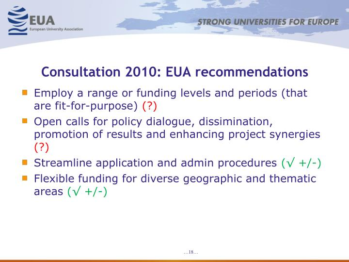 Consultation 2010: EUA recommendations