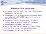 erasmus what to question