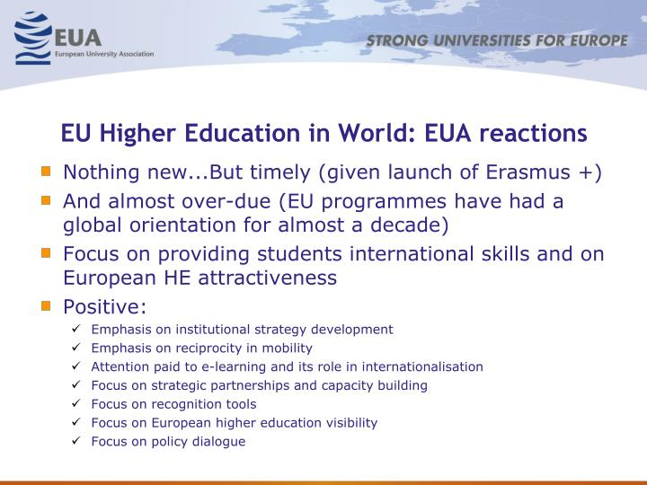 EU Higher Education in World: EUA reactions