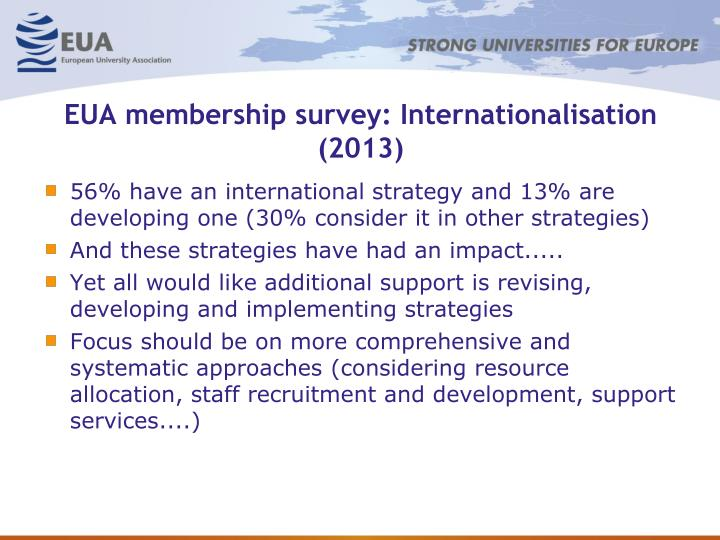 EUA membership survey: Internationalisation (2013)