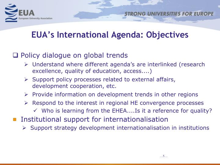 EUA's International Agenda: Objectives