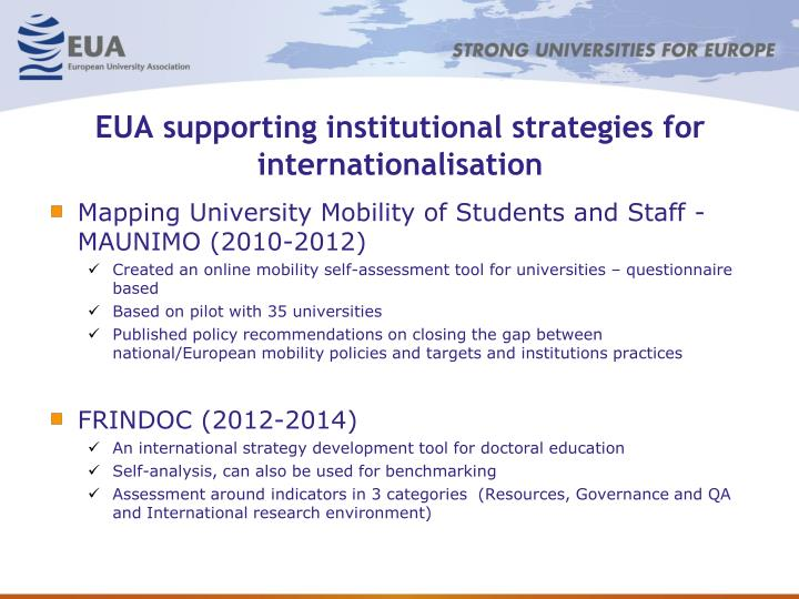 EUA supporting institutional strategies for internationalisation