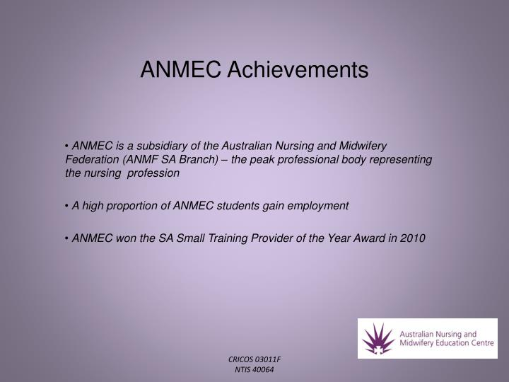 ANMEC Achievements