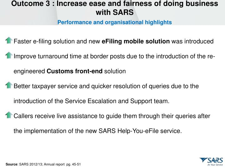 Outcome 3 : Increase ease and fairness of doing business with SARS