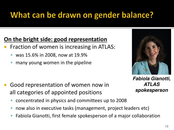 What can be drawn on gender balance?