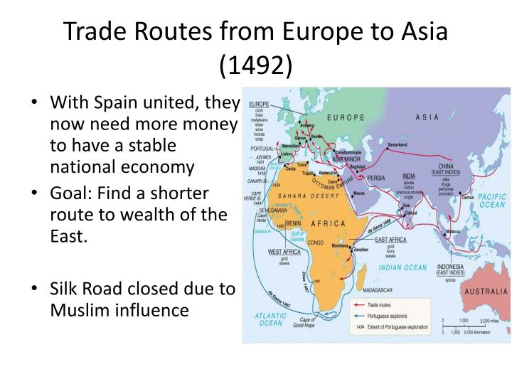 Trade Routes from Europe to Asia (1492)