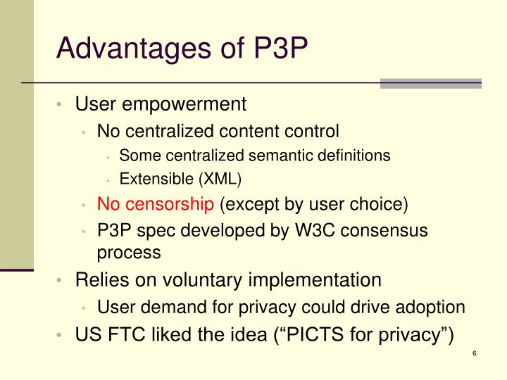 Advantages of P3P