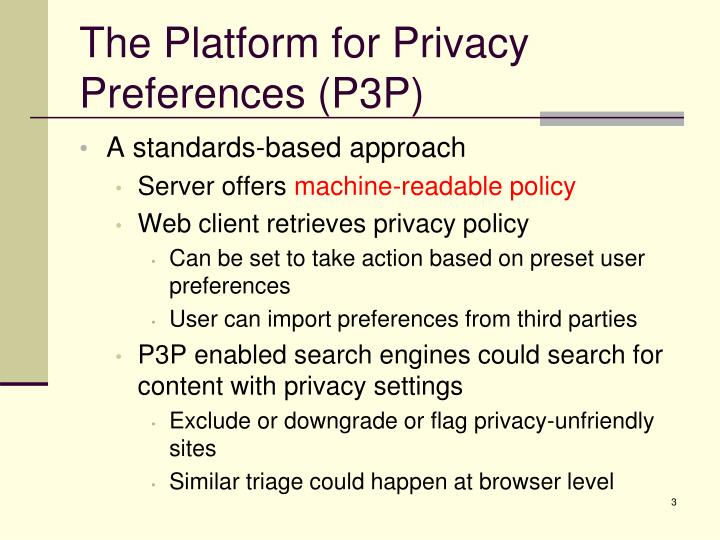 The platform for privacy preferences p3p