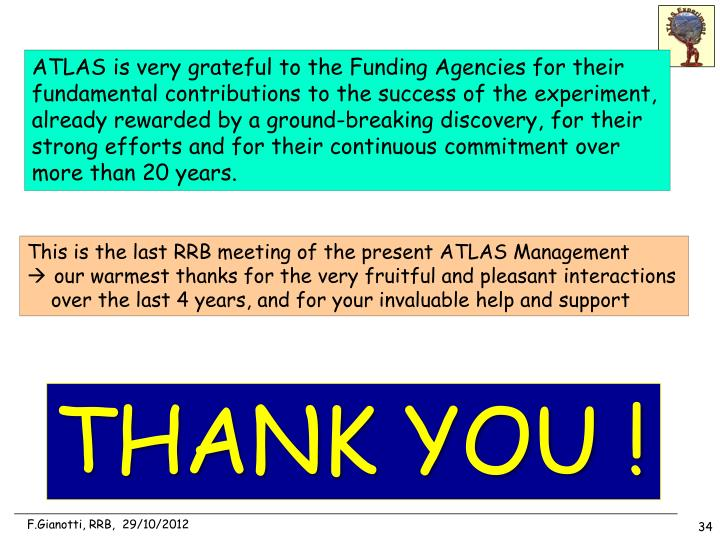 ATLAS is very grateful to the Funding Agencies for their