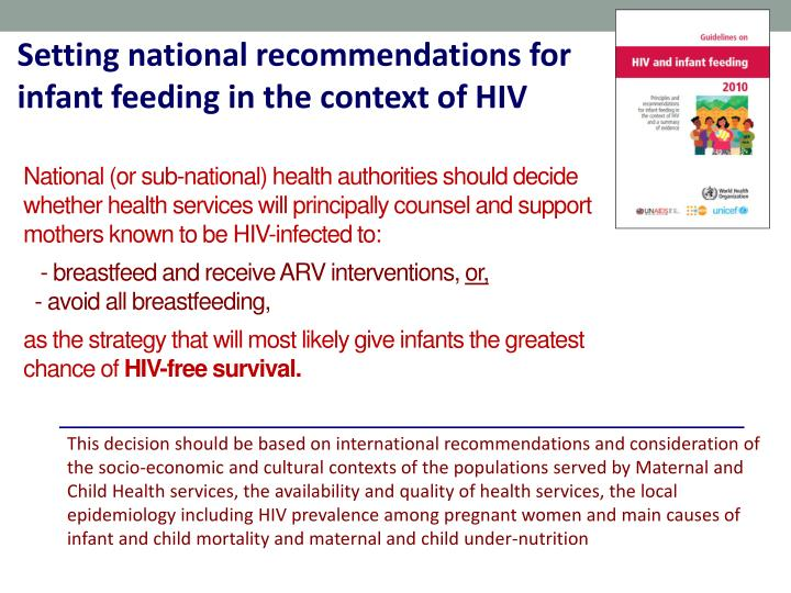 Setting national recommendations for infant feeding in the context of HIV