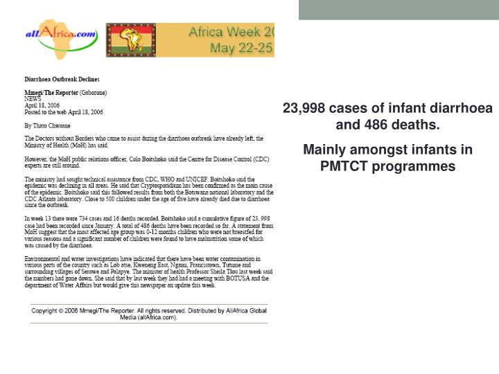 23,998 cases of infant diarrhoea