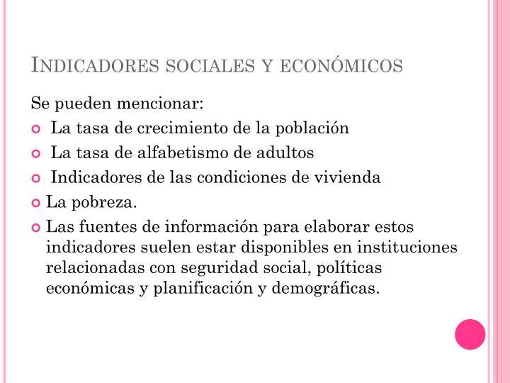 Indicadores sociales y económicos