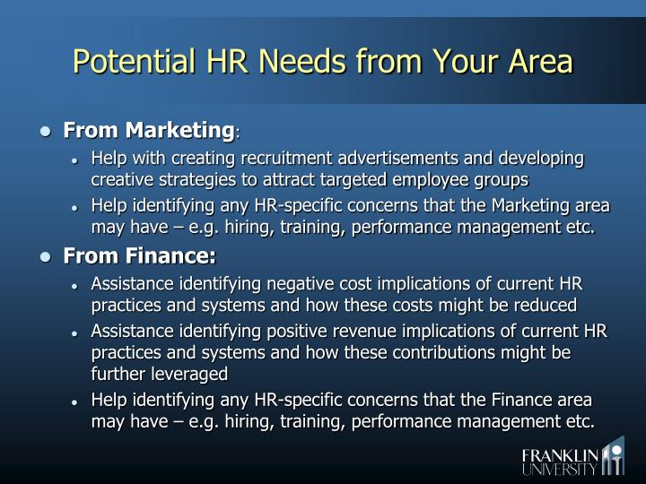 Potential HR Needs from Your Area