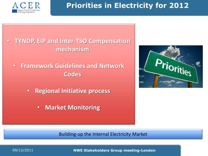 Priorities in Electricity for 2012
