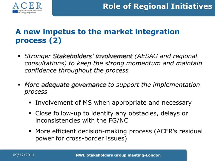 Role of Regional Initiatives
