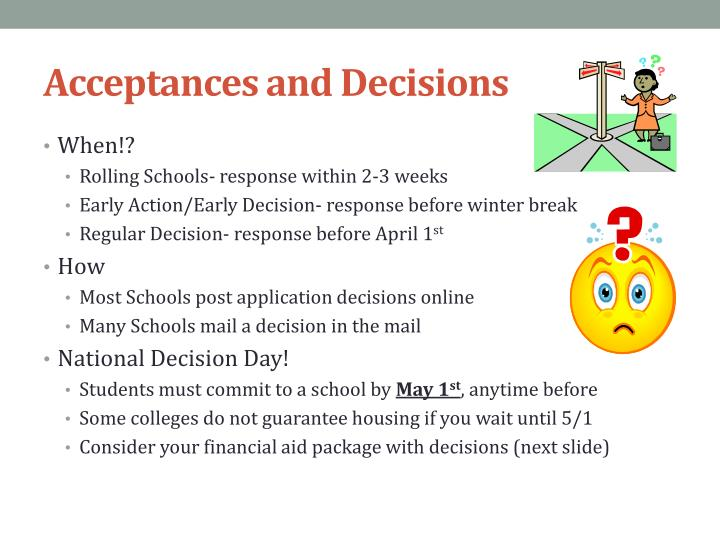 Acceptances and Decisions