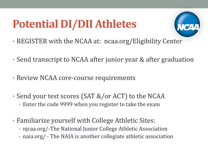 Potential DI/DII Athletes