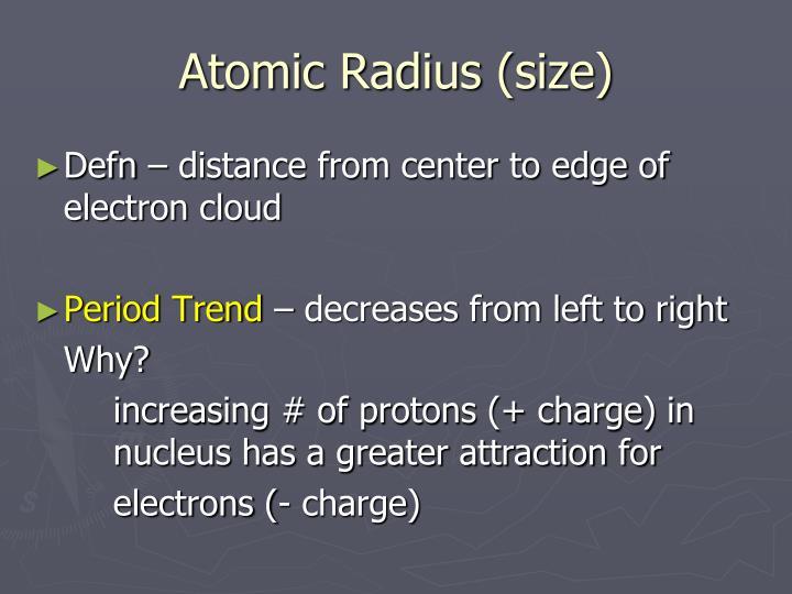 Atomic Radius (size)
