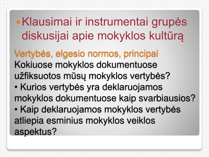 Klausimai ir instrumentai grupės diskusijai apie mokyklos kultūrą