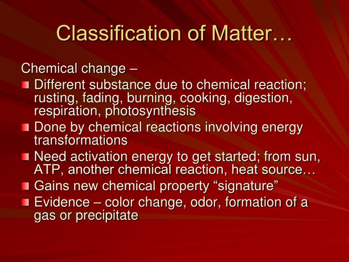 Classification of Matter…