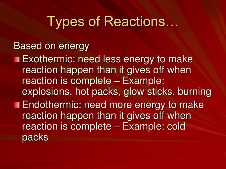 Types of Reactions…