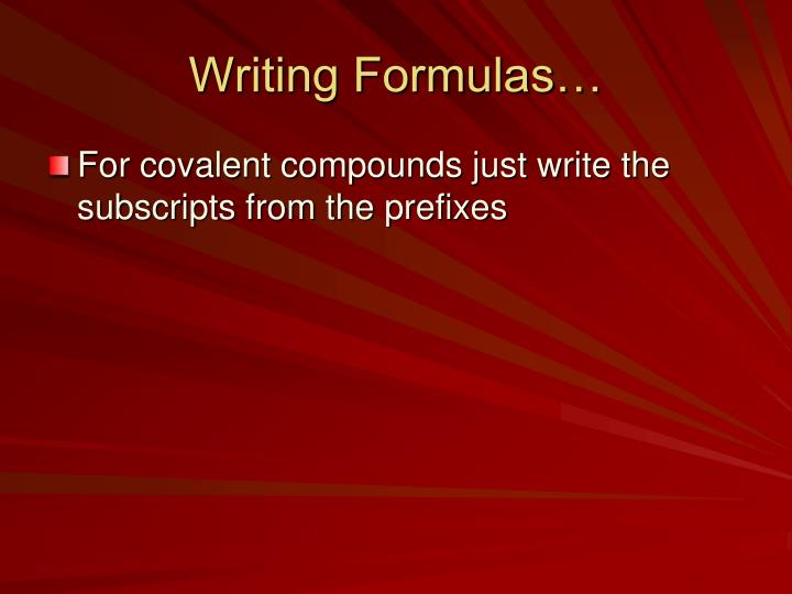 Writing Formulas…