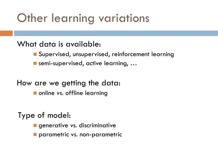 Other learning variations