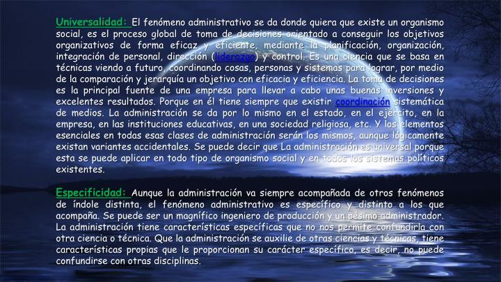 Universalidad: