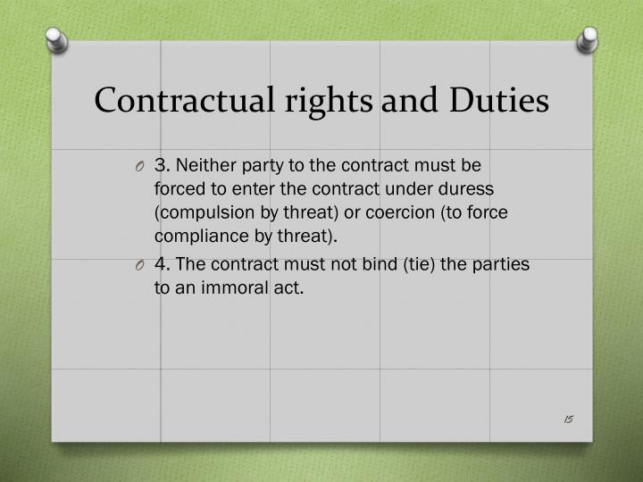 Contractual rights and Duties