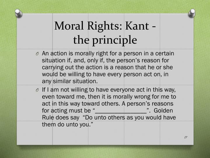 Moral Rights: Kant -