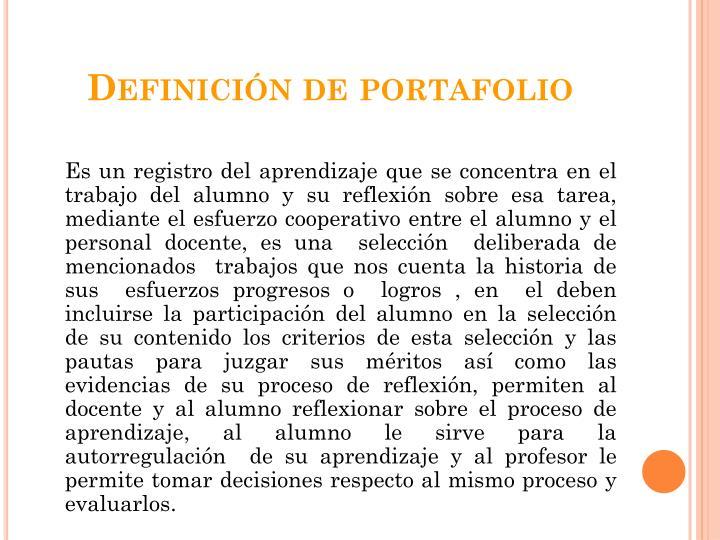 Definición de portafolio